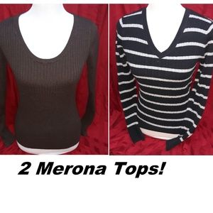 2 Merona Tops/Stretchy Sweater Shirts M
